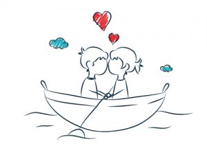 csónakázó szerelmesek